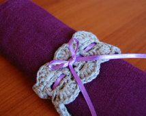 crochet pattern napkin ring table setting decoration