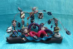 Space Queen Abstract Mixed Media Sculpture Small, Black, Purple, Silver, Pink, And Blue With Polymer, Beads, And Wire, on Etsy, $35.00