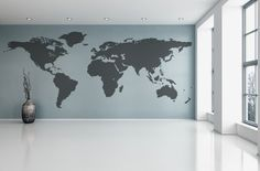 Contemporary grey world map wallpaper mural wallpaper murals world map wall decal vinyl wall sticker decals home decor art cool wall decals stick on gumiabroncs Image collections