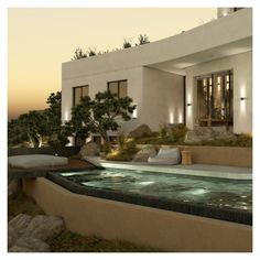 The outdoor living spaces, such as the pool, are being developed in levels organically, in a way that allows them to always remain directly connected to the ground. Swimming Pool Designs, Swimming Pools, Outdoor Spaces, Outdoor Living, Entrance Design, Pool Houses, Stairways, Exterior Design, Facade