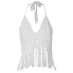 White Crochet Fringe Halter Crop Top Lookbook Store ($16) ❤ liked on Polyvore featuring tops, crop tops, shirts, crop, tanks, halter neck crop top, white shirt, halter top, white crop top and halter-neck crop tops