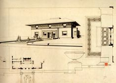This drawing of the Winslow House was prepared in 1910 for use in the porfolio of Wright's drawings published in Germany by Ernst Wasmuth. Drawing copyright © 1985 the Frank Lloyd Wright Foundation.