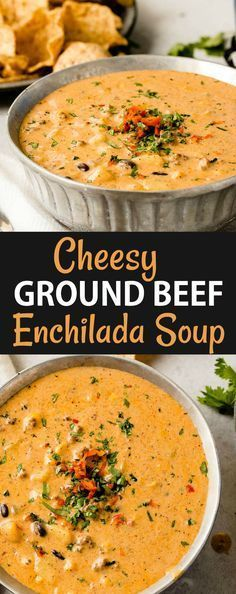 We took our favorite Cheesy Southwestern Chicken Tortilla Soup and turned it into a cheesy ground beef enchilada chili! It's such an easy chili! via @ohsweetbasil