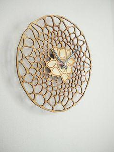 Modern Design Laser Cut Wall Minimalist Designer Clock, Parametric Design Laser Cut Clock, Wood Clock, Unique Laser cutting by Woodinky on Etsy