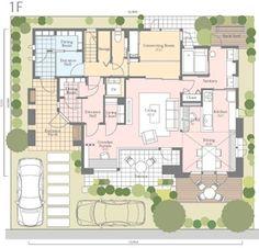 【1F】 親世帯スペースが1階と2階の一部、子世帯スペースが2階と3階の二世帯住宅の間取り (クリックで拡大)