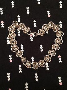 Chain Maille Bracelet - Sterling Silver - Barrel Weave by MeleeTavern on Etsy