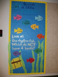 The Rhythm Fish Bulletin Board Idea For Music Classroom Fish Bulletin Boards, Music Bulletin Boards, Bullentin Boards, Music Classroom, Classroom Decor, Classroom Organization, Classroom Walls, Board Decoration, Music Activities