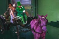 Horse of Many Colors from Wizard of Oz - white horses dyed with Jello for the movie. The Horse changes 6 colors: green, blue, orange, red, yellow, and violet