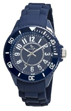Laurens Women's GW42B902Y Colored Rubber Rotating Bezel Blue Dial Rubber Strap Watch Laurens. $41.24. Water resistant to 100 meters(330 feet). Blue rubber strap. Blue dial with second hand feature and minute track. Quartz movement. Plastic case; unidirectional rotating bezel. Save 25%!