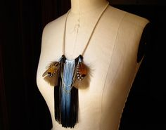 Dip-dyed fringe and feather necklace