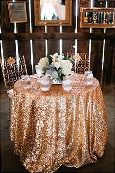 50 Clever Wedding Tricks To Make Your Life Easier. Sequin  TableclothTableclothsGold ...