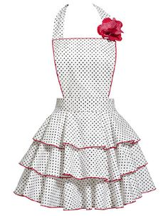 White with petite navy dots on three-tier party hostess apron. Red trim and flower pin complements the apron.