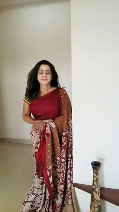 Pen Kalamkari Saree by, Paarvati Kiriyath Bharath