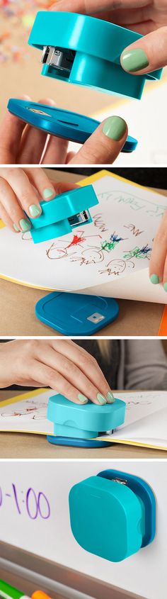 Stapler with a magnetic, detachable base that lets you staple materials of any size. Genius! #product_design #align #quirky