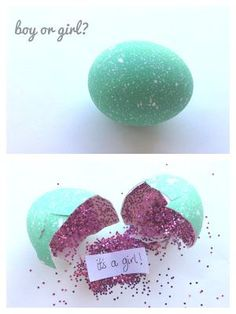 Glitter egg gender reveal party idea Check out Prenatal Imaging Centers to schedule your ultrasound today! Gender ultrasound sessions ONLY $60!! Perfect for your gender reveal party! www.seeyourbaby4d.com