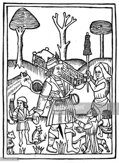 The Fifteen Joys of marriage, Woodcut illustrating the last book, husband toiling under the threat of his wife's distaff, 15th, FranceParis, Bibliotheque Nationale.