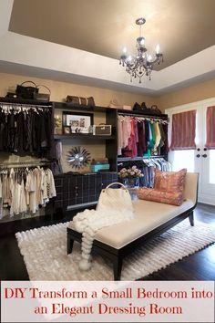DIY: Transform a Small Bedroom into an Elegant Dressing Room - Women's Magazine By Women Bedroom Into Dressing Room, Bedroom Turned Closet, Spare Room Closet, Spare Bedroom Closets, Dressing Room Decor, Extra Bedroom, Dream Closets, Closet Rooms, Classy Closets