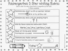 11 Fantastic Writing Rubrics for Kindergarten Count stars to focus on the mechanics of writing. Here's an alternative writing rubric with matching posters. Kindergarten Writing Rubric, Teaching Writing, Teaching Kindergarten, Writing Rubrics, Kindergarten Routines, Art Rubric, Preschool Writing, Paragraph Writing, Informational Writing