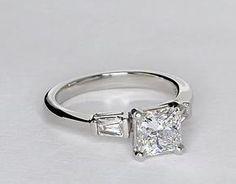 Tapered Baguette Diamond Engagement Ring in Platinum #BlueNile