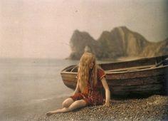 Mervyn O'Gorman, his daughter Christina at Lulworth Cove, 1913