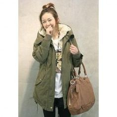 $18.07 Korean Solid Color Cotton-Padded Hooded Long Sleeves Thicken Coat For Women