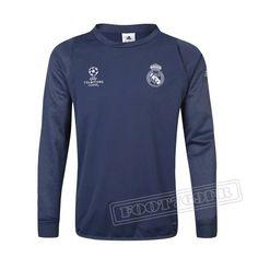 Dernier Sweatshirt Training Real Madrid Ligue Des Champions 2016-2017 France Thai Edition Velours Bleu/Marine