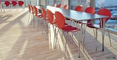 Contract canteen table comes with a laminate top and steel legs. Shown with anthracite laminate top, chrome leg and red Ondo cafe chairs. College Furniture, Cafe Furniture, Office Furniture, Cafeteria Table, Cafe Tables, Canteen, Dark Grey, Classic Style, Dining Chairs