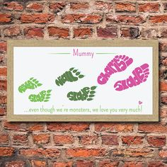 personalised mummy's monsters foot print by name art | notonthehighstreet.com