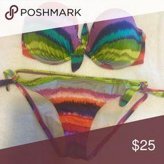 Victoria's Secret Multi-Colored Bikini Top is sized 34D, Bottoms are small Victoria's Secret Swim Bikinis