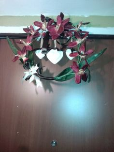 Flowers and hearts wreath