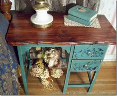 Re-purposed curbside desk into a night stand. Love the bird design she painted.