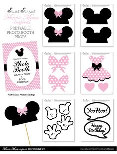 MINNIE Mouse Photo Booth Props in Pale Pink - Print your own - Digital File - Immediate Download