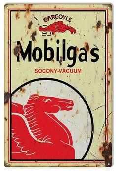 Mobilgas Gargoyle Sign, Large 16 x 24 inch Aged Look .040 Gauge Metal, USA Made Vintage Style Retro Garage Art RG7307L by HomeDecorGarageArt on Etsy