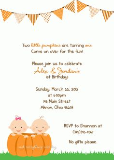 Boy Girl Twins Pumpkin Birthday Baby Shower Invitation