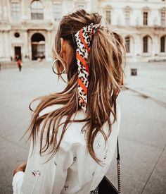 Tied up with a scarf Scarf Hairstyles, Pretty Hairstyles, Summer Hairstyles, Easy Hairstyles, Updo Hairstyle, Wedding Hairstyles, Stylish Hairstyles, Christmas Hairstyles, Everyday Hairstyles