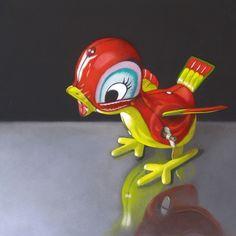 Little Bird 6x6, painting by artist M Collier