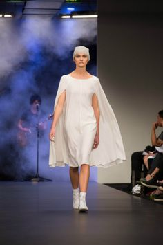 Cape sleeve dress from the NYNE winter  '14 collection for NZ Fashion Week.