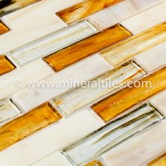 Mineral Tiles - Stained Glass Mosaic Tile Amber 1x4, $19.79 (http://www.mineraltiles.com/stained-glass-mosaic-tile-amber-1x4/)