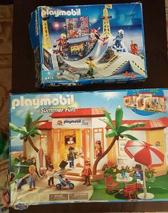 PLAYMOBIL #4414 Skate Park Halfpipe & 5998 Tropical Beach Hotel SUMMER FUN