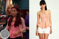 Cat Valentine (Ariana Grande) wears this Pink Polka Dot Peplum Bandeau Zip Up Bustier, in this weeks episode of Sam & Cat. It is the Love Culture Polka Dot Peplum. But it is sold out. Peplum Top Outfits, Cute Outfits, Fashion Line, I Love Fashion, Women's Fashion, Cat Valentine Outfits, Sam And Cat, Outfit Goals, Outfit Ideas