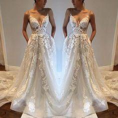S122 custom made spaghetti straps deep v-neck lace beach wedding dress