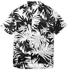SAINT LAURENT Palm-Print Cotton Shirt. #saintlaurent #cloth #casual shirts