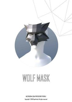 Papercraft WOLF MASK halloween pepakura carnival Low Poly Paper Sculpture DIY gift for party pattern template polygonal face cower Maske Halloween, Halloween Masks, Halloween Party, Origami, Low Poly Mask, Cardboard Mask, Wolf Mask, Polygon Art, Mask Template