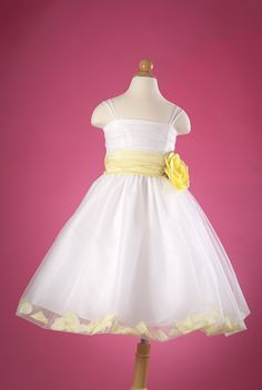 Flower girl dress white tulle dress with yellow sash and rosebuds flower girl dress with yellow sash mightylinksfo