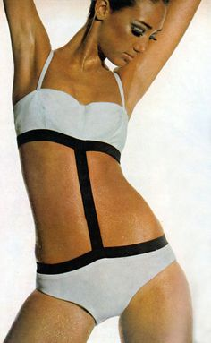 77c4263cb6c4f Marisa Berenson. Vogue December 1965 black and white bathing suit Vintage  Swim