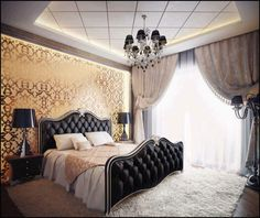 Pink And Gold Bedroom Design: Imaginative Pink Gold Luxury Bedroom Furniture Princess, Pink Gold Fabric Draperies Decor, Combination Black Gold Color Bedroom Interior Design, Beautiful Black Gold Bedroom Interior Dream Rooms, Dream Bedroom, Home Bedroom, Bedroom Decor, Bedroom Ideas, Bedroom Furniture, Lux Bedroom, Furniture Sets, Bedroom Lighting