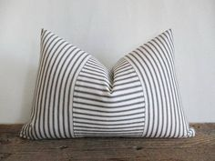 Lumbar Pillow Cover Black Ticking Vertical & Horizontal