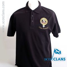 Stewart Clan Crest Embroidered Polo. Free worldwide shipping available.
