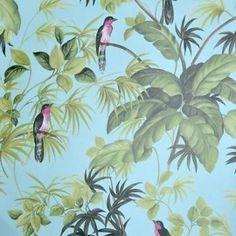vogels behang tropisch exotisch 10.05 meter lang 53 cm breed patroon :53/26.50 cm kleur blau , groen grijs kwaliteit papier