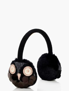 "Kate spade new york ""night owl"" ear muffs. the owls that detail these kate spade ear muffs give them delightful whimsy! faux-fur (acrylic/polyester) lining. Owl Clothes, Ear Parts, Textiles, Night Owl, Earmuffs, Knitting Accessories, Ear Warmers, Hats For Women, Owls"